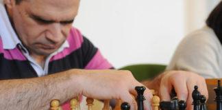 Jugador ciego de ajedrez.