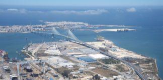 Vista aérea del Puerto de Cádiz.